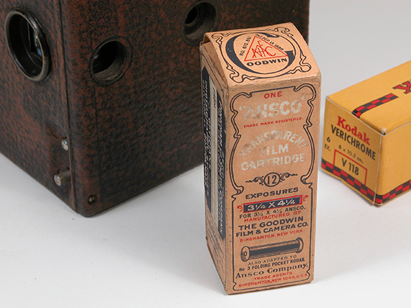 The Goodwin Film & Camera Company Ansco 7B Film, Anthony & Scovill No. 2 Box Camera and Eastman Kodak 118 Film